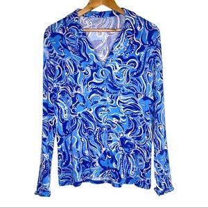 Lily Pulitzer Women's Blue Ruffle Cuff Pajama Top